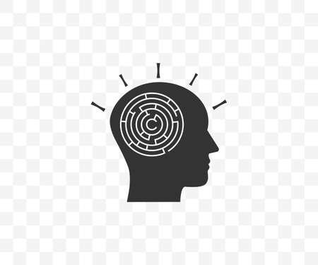 Head, maze, strategy icon on transparent background. Vector illustration.