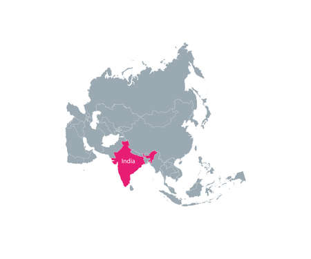 India on asia map vector. Vector illustration.