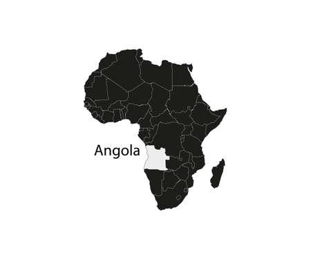 Angola on africa map vector. Vector illustration. Vettoriali