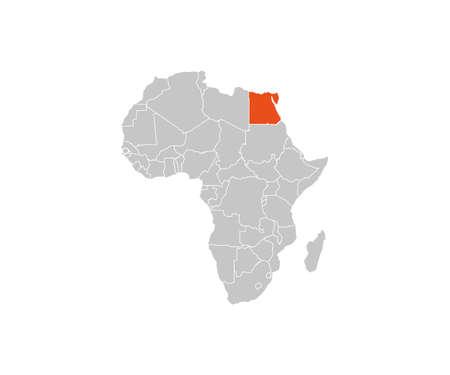 Egypt on africa map vector. Vector illustration.