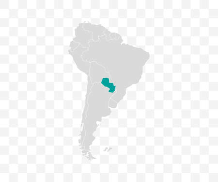 Paraguay on South America map vector. Vector illustration.