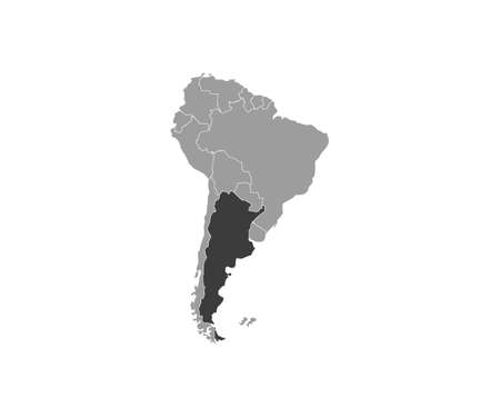 Argentina on South America map vector. Vector illustration.