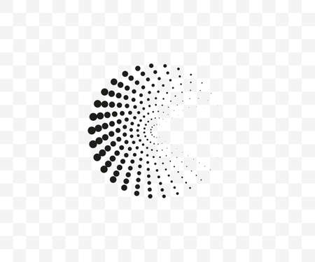 Dotted spiral symbol on transparent background. Vector illustration.