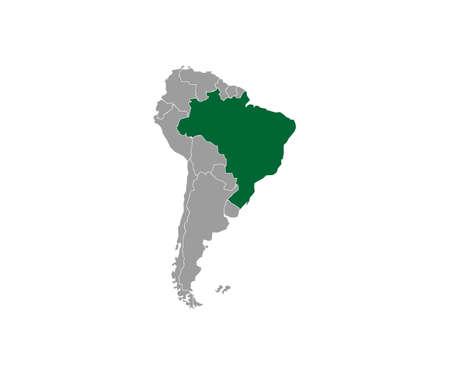 Brazil on South America map vector. Vector illustration.