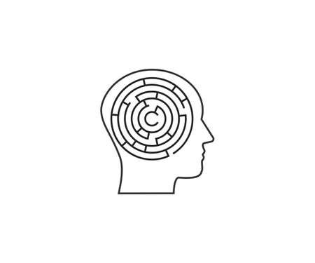 Head, maze, strategy icon. Vector illustration, flat.