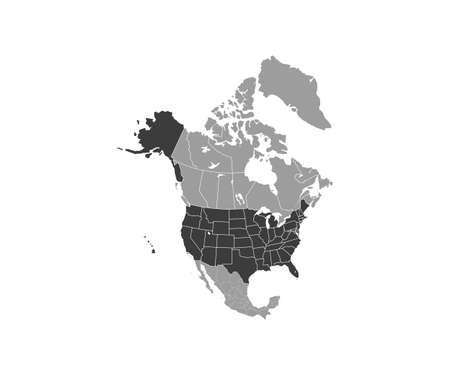 USA on North America map vector Vettoriali