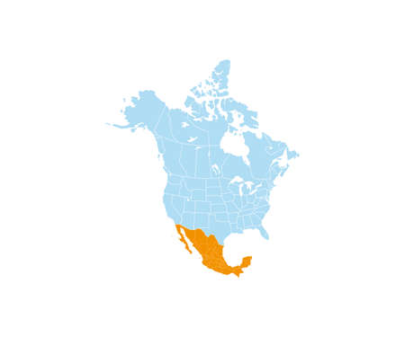 Mexico on North America map vector