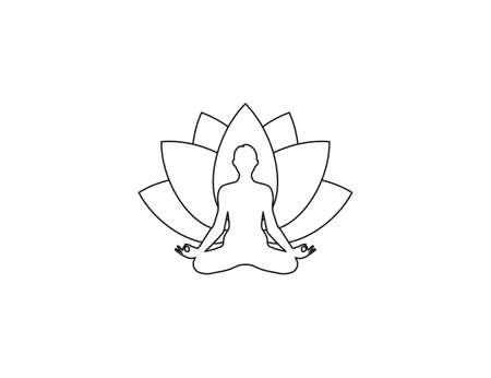 Vector illustration. Lotus position yoga icon