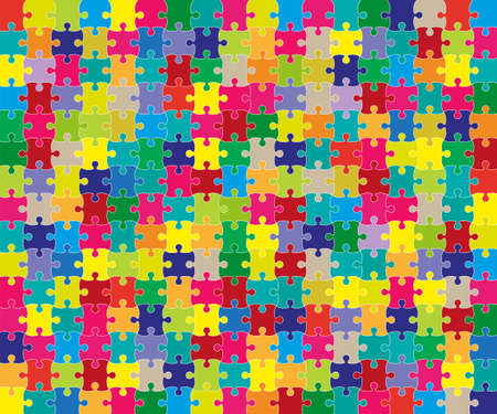 Vector Jigsaw Puzzle grid template. Vector illustration.