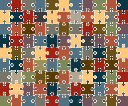 Jigsaw Puzzle grid template. Vector Illustration