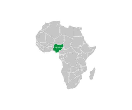 Nigeria on africa map vector. Vector