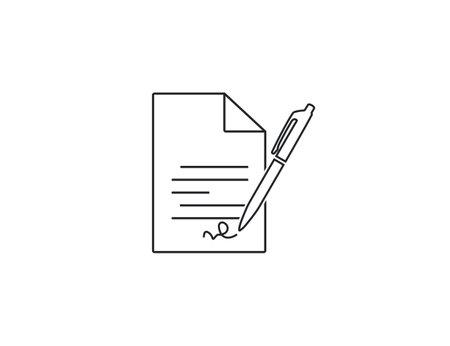 Document, pen, signature icon. Vector illustration, flat.