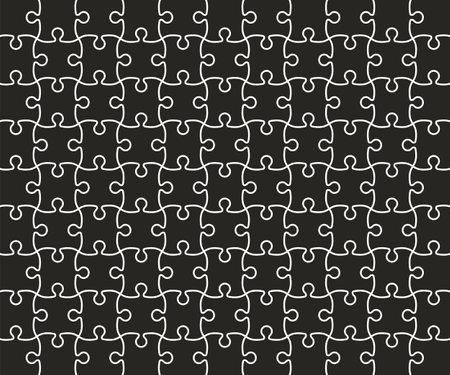 Jigsaw Puzzle grid template, black Vector Illustration