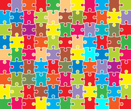 Jigsaw Puzzle grid template, color. Vector illustration. Illustration