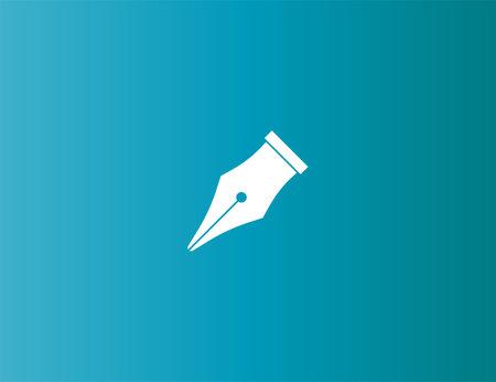 Vector illustration. Fountain pen nib, signature icon