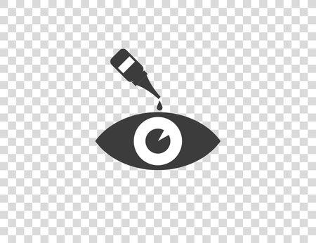 Vector illustration, flat. Drop eye drops medicine icon