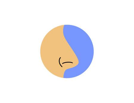 Vector illustration, flat. Body nose smell icon Illustration
