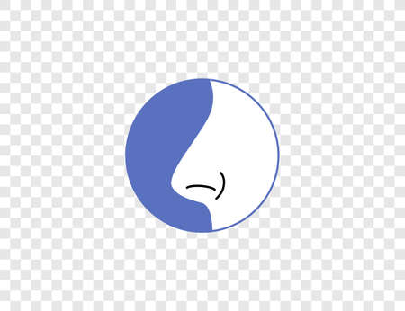 Body, nose, smell icon. Vector illustration, flat.