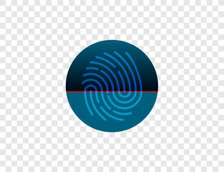 Biometric data, fingerprint, scan icon Vector illustration flat