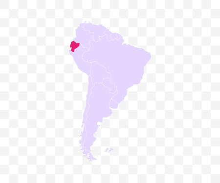 Ecuador on South America map vector. Vector illustration.