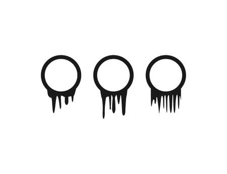 Vector illustration. Dripping circle drops
