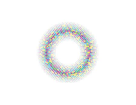Vector illustration. Halftone dots in circle form, logo