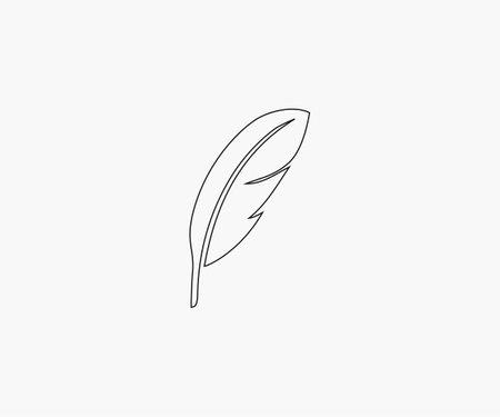 Feather icon on. Vector illustration. 일러스트