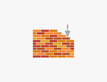 Vector illustration. Bricks wall work icon