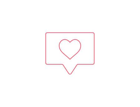 Like, heart, notification, social media icon. Vector illustration.