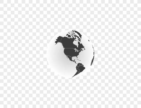 Earth globe, planet, map icon Vector illustration.