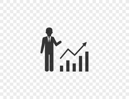 Business, businessman, chart, graph, profit icon. Vector illustration.