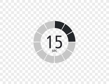 The 15 seconds, stopwatch, digital timer. clock and watch, Vector illustration.