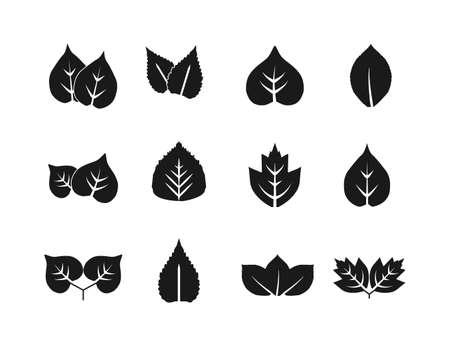 Eco, green, leaves icon set. Vector illustration.