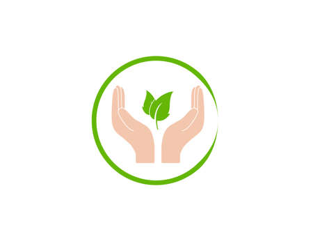 Vector illustration. Plant leaf in hand icon