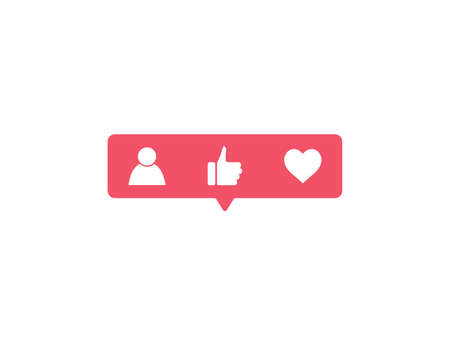 Like, follow, comment icon on white background. Vector illustration.