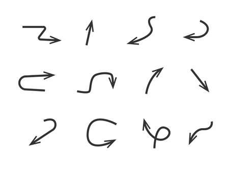 Arrow, doodle, drawing, sketch icon set. Vector illustration.