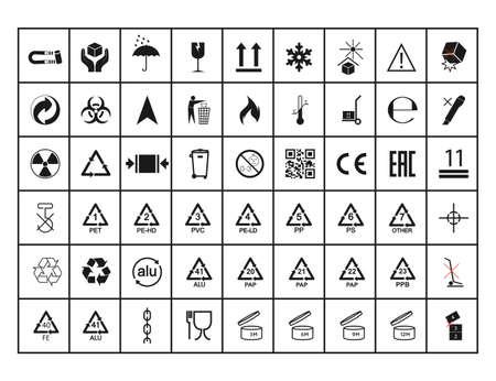 Set of packaging symbol. Vector illustration. flat