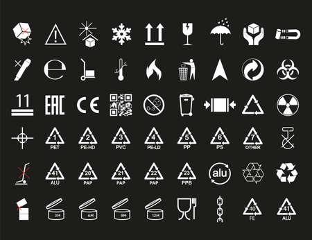 Set of packaging symbol. Vector illustration. flat design.