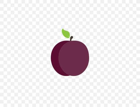 Fruit, plum icon. Vector illustration. Flat design. 向量圖像