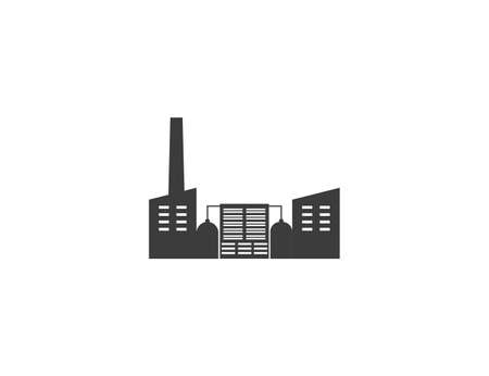 Building, factory, industry icon on white background. Vector illustration.