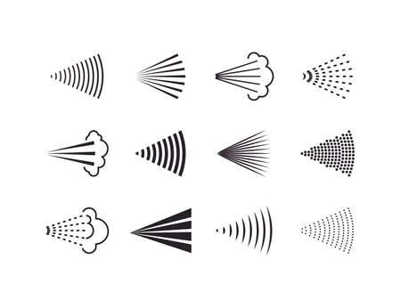 Aerosol, drop, spray icon set. Vector illustration. Flat design.