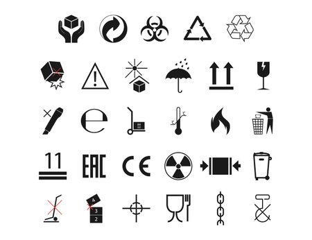 Set of packaging symbol flat design.