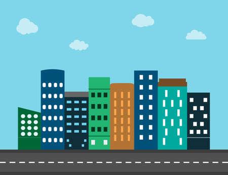 City, landscape, view flat. Vector illustration. Flat design.