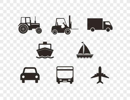 Transport icons set on transparent background. Vector illustration.