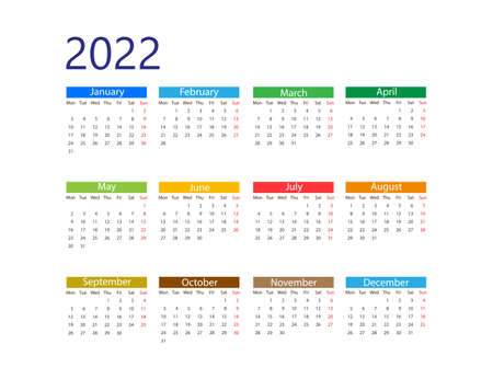 Weeks start on Monday Vector illustration. 2022 year, calendar Иллюстрация