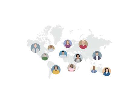 Vector illustration. Flat design. Social network, people connect the world Иллюстрация