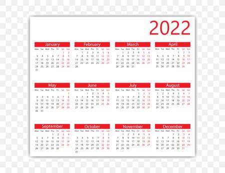 Vector illustration. 2022 year, calendar Weeks start on Monday