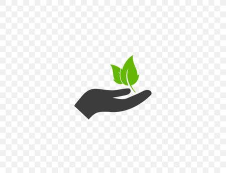 Vector illustration. flat design. Plant leaf in hand icon Иллюстрация