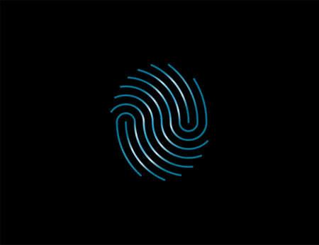 Fingerprint, valid trace identify icon