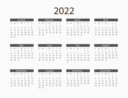 2022 year, calendar. Vector illustration Weeks start Иллюстрация